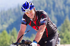 Warren Quinn in the Coeur d' Alene Ironman cycling event Royalty Free Stock Photos