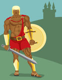 Warrior. Strong warrior has prepared for fight Royalty Free Stock Photos