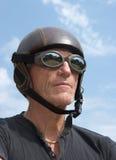 Warrior 2. Mature man wearing an obsolete helmet Stock Photo