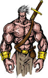 Warrior. Muscular fantasy warror with a sword strapped to his back royalty free illustration