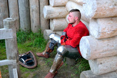 A warrior in anticipation of a battle. International Championship on the historical medieval battle Call of heroes. It passes near Kiev, in the village of Royalty Free Stock Images