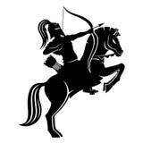 Warrior archer on horseback. Warrior archer on horseback on a white background Stock Photo