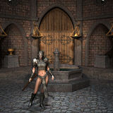 Warrior with armor and crossbow. 3D rendering young female warrior in armor and crossbow Royalty Free Stock Photo