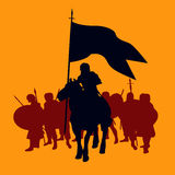 Warrior Background. Background illustration with a knight and his followers Stock Image