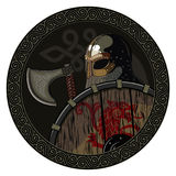 Warrior Barbarian Viking Berserker with axe and shield. Isolated on white, wector illustration Stock Photos