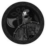 Warrior Barbarian Viking Berserker with axe and shield. Isolated on white, wector illustration Royalty Free Stock Photography