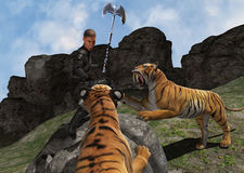 Warrior Battling Wild Beasts Illusration Stock Photo