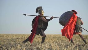 The warrior beautifully beats his shoulder with a spear on his opponent. The warrior in armor and red cloak beautifully beats from behind the shoulder a spear on stock video