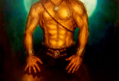 Warrior body with jewelry and night mooin in background. Painting and graphic design. Royalty Free Stock Photography