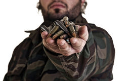 Warrior with bullets in his hand Stock Photo