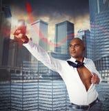 Warrior businessman as superhero Stock Photography