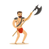 Warrior character, naked man in a red loincloth with poleaxe vector Illustration Royalty Free Stock Photos