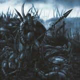 Warrior of darkness has crushed the army of people. Warrior of darkness has crushed the army of people and looks at the mountains of corpses around. Genre of vector illustration