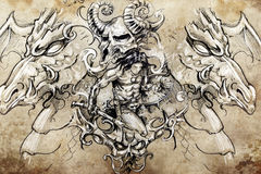 Warrior with dragons, Tattoo sketch Royalty Free Stock Images