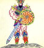 Warrior. East warrior in armor. Figure marker Stock Images