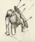 Warrior and enemy arrows. Young viking warrior that have his helmet lost in the battle and now defending himself from the rain of arrows with the shield Royalty Free Stock Photography