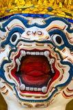 Warrior face at Wat Phra Kaeo Temple, Thailand. Royalty Free Stock Image