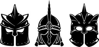 Warrior Fantasy Helmet Set. Isolated vector illustration of fictional medieval helm in three different variation royalty free illustration