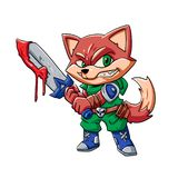 Warrior fox stock illustration