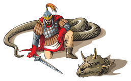 Warrior and a giant snake. Warrior defeated giant snake, Russian folklore and mythology characters, vector illustration Royalty Free Stock Photo