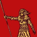 Warrior girl is holding a spear ready for battle illustration. Royalty Free Stock Image
