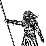 Warrior girl from a wild tribe with a spear. Vector illustration. stock photo