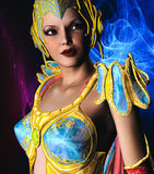 Warrior with Gold and Blue armour. 3D render of a warrior with gold and blue armour Stock Images