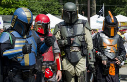 Warrior group from the future, in costume at a festival. Futuristic soldiers walks among earthlings at a local festival in Indiana stock photo