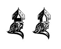 Warrior. Head of barbarian. Profile of warrior. View of warrior helmet with crest. Head of warrior icon. Warrior helmet on white background Stock Image