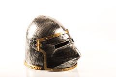 Warrior helmet replica. Medieval crusader knight  war helmet replica over a white background Stock Photography
