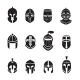 Warrior helmets black icons or logos set. Knight armor, vector illustration Stock Images