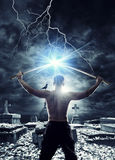 Warrior with his Katana. Sword at the graveyard Royalty Free Stock Photography