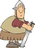 Warrior with his sword in the ground. This illustration depicts a Roman style soldier with his sword in the ground Stock Photo