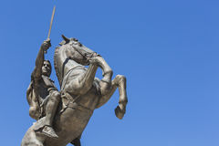 Warrior on a Horse statue Alexander the Great on Skopje Square Stock Photos