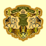 Warrior or hunter archery in deer. Vintage engraving label Royalty Free Stock Images