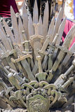 Warrior, Iron throne made with swords, fantasy scene or stage. R Stock Photos