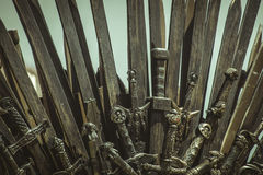 Warrior, Iron throne made with swords, fantasy scene or stage. R Stock Photography