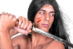Warrior with katana Stock Images