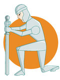 Warrior Kneeling with Sword. Rounded Background Cartoon Illustration Stock Image