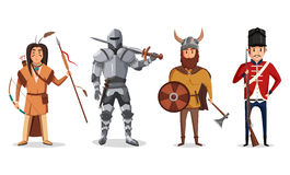 Warrior knight with sword and viking soldier. English rifleman and indian, native american warrior with bow and arrow. May be used for cartoon warrior and Royalty Free Stock Image
