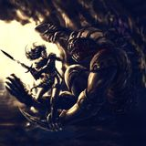 Warrior of light against a demon of darkness royalty free illustration