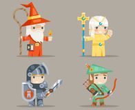 Warrior Mage Priest Archer Fantasy RPG Game Human Elf Character Vector Icons Set Vector Illustration. Warrior Mage Priest Archer Fantasy Game RPG Human Elf Stock Photos