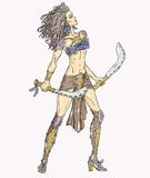 Warrior maiden_2. Beautiful warrior woman with two sabers Royalty Free Stock Images