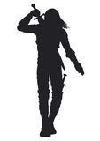 Warrior man silhouette Stock Photos