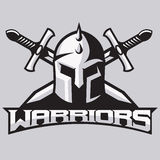 Warrior mascot for sport teams. Helmet with swords, logo, symbol on a light background. Royalty Free Stock Images