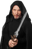 Warrior monk. Fantasy warrior monk with fancy sword in his hand royalty free stock photography