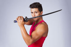 Warrior with ninja swords Royalty Free Stock Image