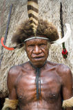 The warrior of a Papuan tribe in traditional clothes and colorin Royalty Free Stock Photo