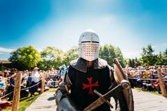 Warrior participant of festival of medieval Stock Images