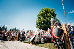 Warrior participant of festival of medieval Royalty Free Stock Images